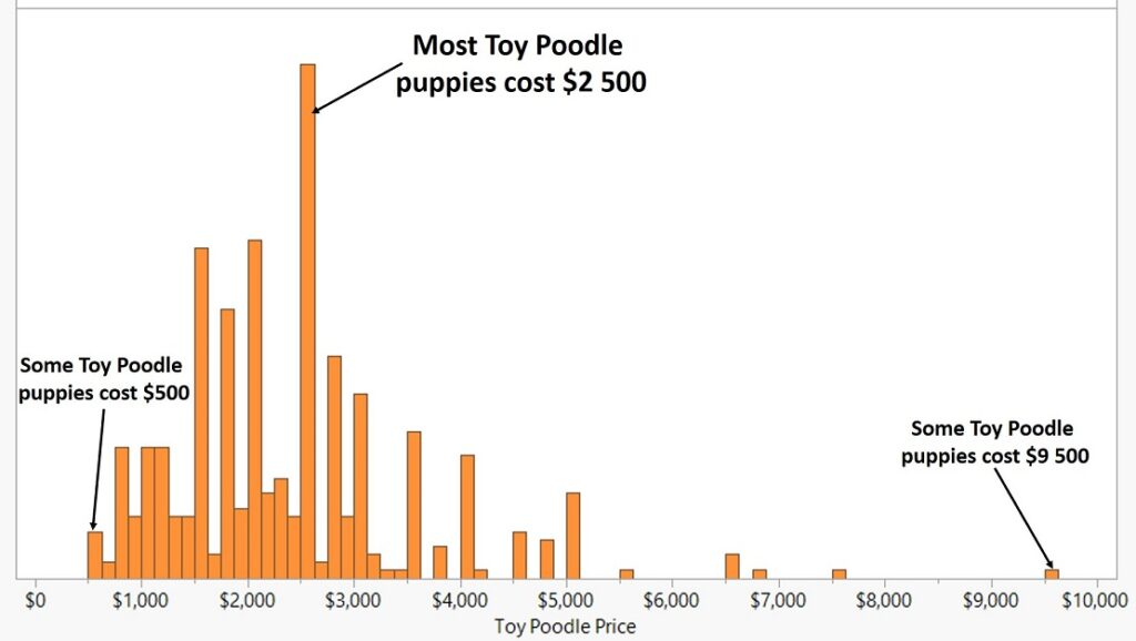 a survey of toy poodle prices. Average price of toy poodle puppy is $2500